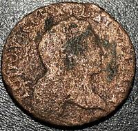 1719 France 1/2 Sol Louis XV 6 Deniers 1st Portrait French Revolution Coin