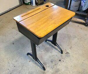 Vintage Antique Industrial Metal Student School Desk with Wood Lift Top