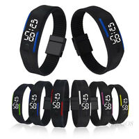 Fashion Mens Womens Watch Digital LED Rubber Date Sports Bracelet Wrist Watches