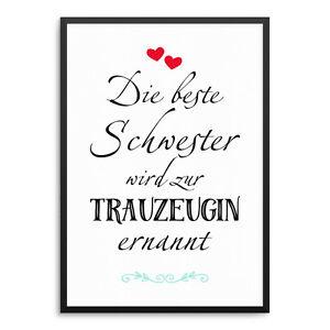 Trauzeugin Schwester Hochzeit Kunstdruck ArtPrint Poster Druck Print Geschenk