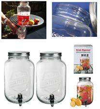 2x 3.5L Vintage Tarro Barrel Dispensador De Vidrio Con Agua Grifo Punch Zumo Bebida Casa