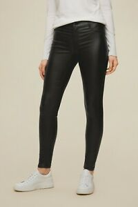 Black Ex Branded Skinny Jeans Womens Stretch Coated Slim Trousers Sizes