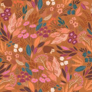 Fat Quarter Dashwood Studios Wild Flowers Leaves Hedgehog 100% Cotton Fabric