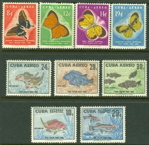 EDW1949SELL : SPANISH COLONY 1958 Sc #C185-91, E26-27 Butterflies & Fish VF MOG
