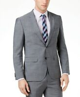 $445 Hugo Boss Men's Extra-Slim Fit Gray Crosshatch Suit Jacket Mens 38R 38 NEW