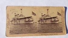 Antique 1899 Stereo View Card The Armored Cruiser  USS New York Navy Battleship