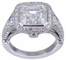 10k White Gold Asscher Forever One Moissanite and Diamond Engagement Ring 4.45ct