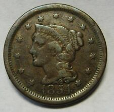 1854 Braided Hair Large Cent Grading Fine Bargain Priced and Shipped Free b3