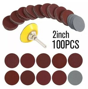 """100x 50mm (2"""") Assorted Rotary Sanding Disc Sandpaper Pads 80-3000 Grit Stick On"""