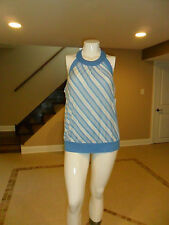 New York and Company Women's Striped Halter Top Blue and White Size:XL NEW