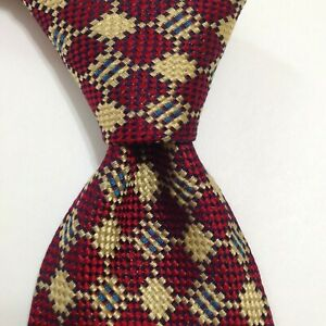 TRUZZI Milano Men's Silk Necktie ITALY Designer Geometric Red/Yellow/Blue EUC