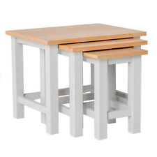 Farrow Grey Nest of Tables Set of 3 Painted Solid Wood Oak Nested Stackable Side