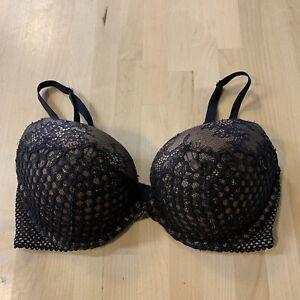 34D Victoria's Secret Very Sexy Push Up Underwire Bra Black Thicker Padding