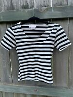 CACHE Cropped Stretch Top Small Black White Stripe Shirt Short Sleeve Blouse