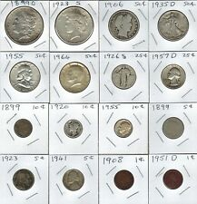 16 US Old Coins, Morgan, Peace, Barber, Franklin, Kennedy & V Nickel