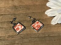 Recycled Broken Porcelain Jewelry, Red & White Floral Dangling Post Earrings