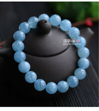 Natural Brazil Blue Aquamarine Round Beads Bracelet AAA 9 mm