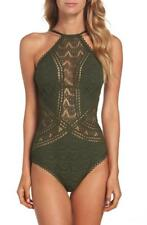 Becca Color Play High Neck Crochet One Piece Swimsuit L (10-12) Bay Leaf