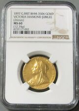 1897 GOLD GREAT BRITAIN QUEEN VICTORIA DIAMOND JUBILEE MEDAL NGC MS 60