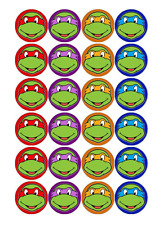 24 x TMNT Ninja Turtles Edible Cupcake Toppers Birthday Party Cake Decoration