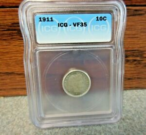 1911 Liberty Head or Barber Dime ICG : graded VF35 : BUY-IT-NOW