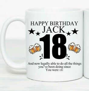 18th birthday gift Personalised mug any name and message boys man male 18 today