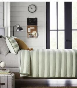 2 Pc Hearth & Hand Magnolia Twin Engineered Stripe Quilt Sham Set Green