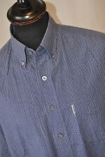 Ben Sherman blue check button down collar shirt size large mod casual