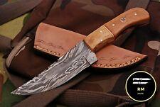 7INCH NEW RM CUSTOM DAMASCUS STEEL FULL TANG HUNTER SKINNER KNIFE WOOD HANDLE 55