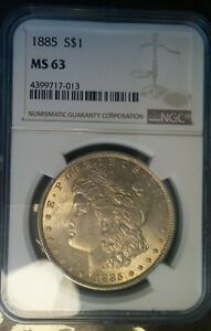 1885 Morgan Silver Dollar NGC MS-63 Toned (D#-28)