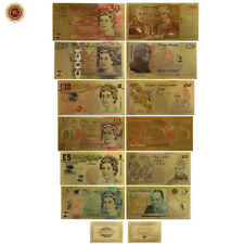 WR England Great Britain Old New £5 £10 £20 £50 Pound UK Gold Banknote Set Color