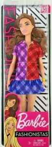 Barbie Fashionista 137 Doll Long Brunette Wearing Color Blocked Plaid Dress