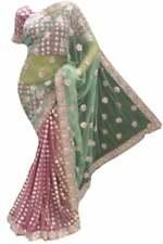 Sea Green & Dusty Pinkindian Bollywood DESIGNER Party Saree Sari With Blouse