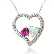 Silver Diamond Accent Created Pink Sapphire &White Opal 3Floating Heart Necklace