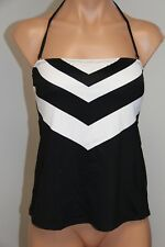 New Ralph Lauren Swimsuit Tankini Top Sz 16 Black White Bandeau