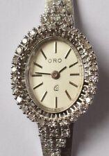 Oro Quarz Armbanduhr Damenuhr 14 Karat 585 Gold Weißgold 38 Brillanten 22,76 g