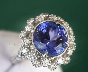 Tanzanite Ring Gold Diamond Natural NO HEAT 7.38CTW GIA Certified RETAIL $14900