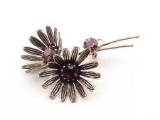 Handmade Vintage Czech amethyst pink glass rhinestone flowers pin brooch