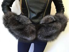 Saga Blue Frost Fox Fur Mittens Full Fur Winter Gloves