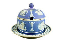 WEDGWOOD china JASPERWARE dark blue HONEY JAR & LID Attached Underplate 1900