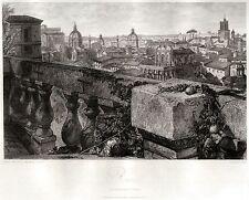 ROMA DAI GIARDINI FARNESE. Stato della Chiesa.HAKEWILL.ACCIAIO.Passepartout.1820