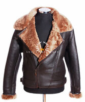 Shearling Aviator Brown Mens Crosszip Ginger Sheepskin Leather WW2 Flying Jacket