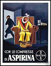 PUBBLICITA' 1935 ASPIRINA BAYER MEDICINA FARMACIA COMPRESSA VIGNETTA BASSI