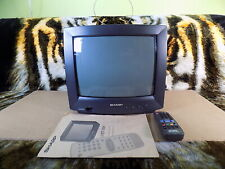 """Sharp 37ET-35H Colour CRT Cube TV Screen Retro Gaming Monitor 14"""" + Remote Fully"""