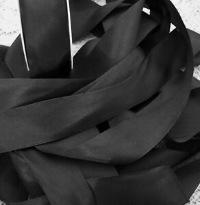 "100% PURE SILK  RIBBON [36mm] 1 1/2"" WIDE BLACK ~COLOR ~ 5 YD~ FINAL LOTS"