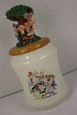 Keebler Elves Elf Cookie Jar Ceramic Canister Wooden Top with Resin 3D Figures