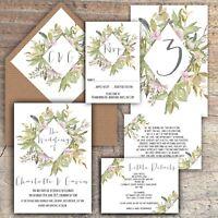 Personalised Luxury Rustic Wedding Invitations LAVENDER/GREY/GREEN packs of 10