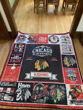 NHL Hockey Chicago Blackhawks Hand Made Twin Size Quilt Blanket 72 X 80 Inches