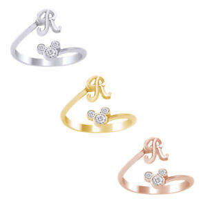 Ring Mouse Simulated Diamond Initial R Ring In 14K Gold Over