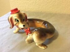 artmark dachshund dog ceramic salt pepper shaker set japan red derby hat vintage